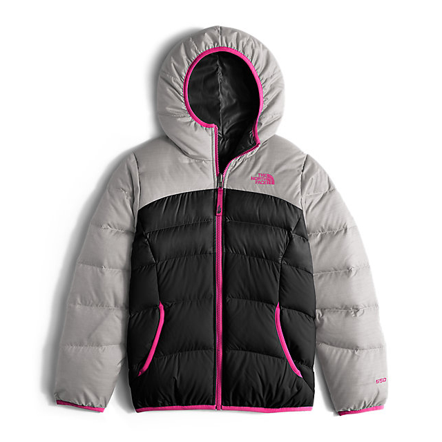CHEAP NORTH FACE GIRLS' REVERSIBLE MOONDOGGY DOWN JACKET METALLIC SILVER HEATHER ONLINE