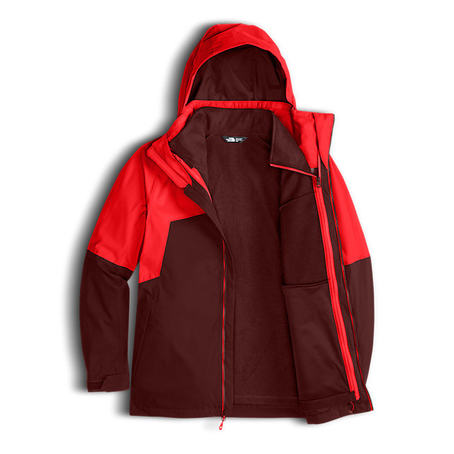 CHEAP NORTH FACE MEN\'S GAMBIT TRICLIMATE JACKET FIERY RED/HOT CHOCOLATE BROWN ONLINE