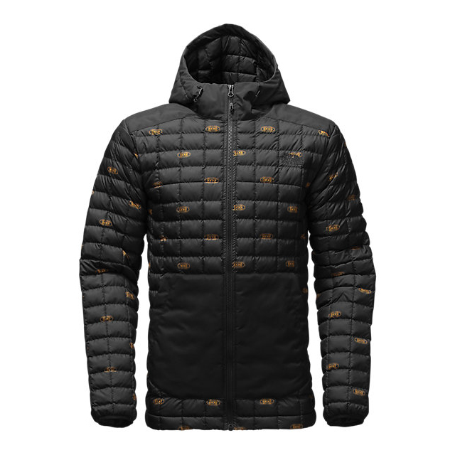 CHEAP NORTH FACE MEN\'S THERMOBALL SNOW HOODIE BLACK DOUBLE VISION PRINT ONLINE