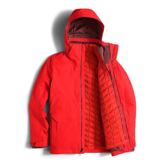 CHEAP NORTH FACE MEN\'S THERMOBALL SNOW TRICLIMATE PARKA FIERY RED ONLINE