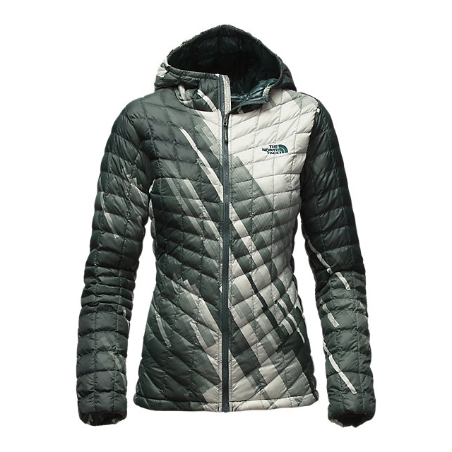 CHEAP NORTH FACE WOMEN'S THERMOBALL HOODED JACKET DARKEST SPRUCE STRATA PRINT ONLINE