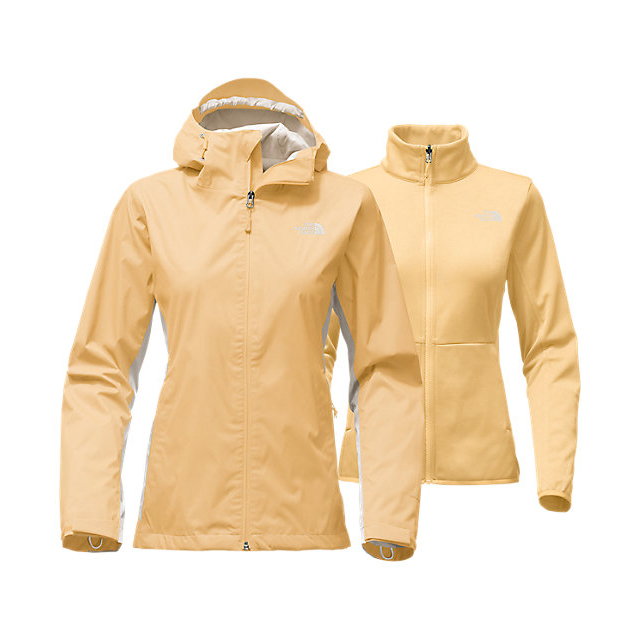 CHEAP NORTH FACE WOMEN'S ARROWOOD TRICLIMATE JACKET GOLDEN HAZE/MOONLIGHT IVORY ONLINE