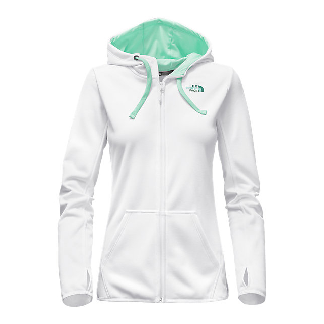 CHEAP NORTH FACE WOMEN\'S FAVE LFC FULL ZIP HOODIE WHITE/ICE GREEN MULTI ONLINE