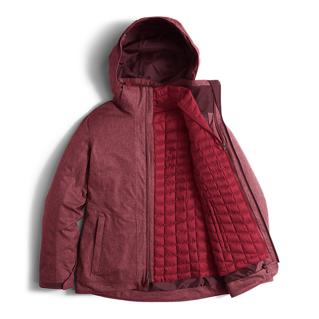CHEAP NORTH FACE WOMEN\'S THERMOBALL SNOW TRICLIMATE PARKA DEEP GARNET RED HEATHER ONLINE